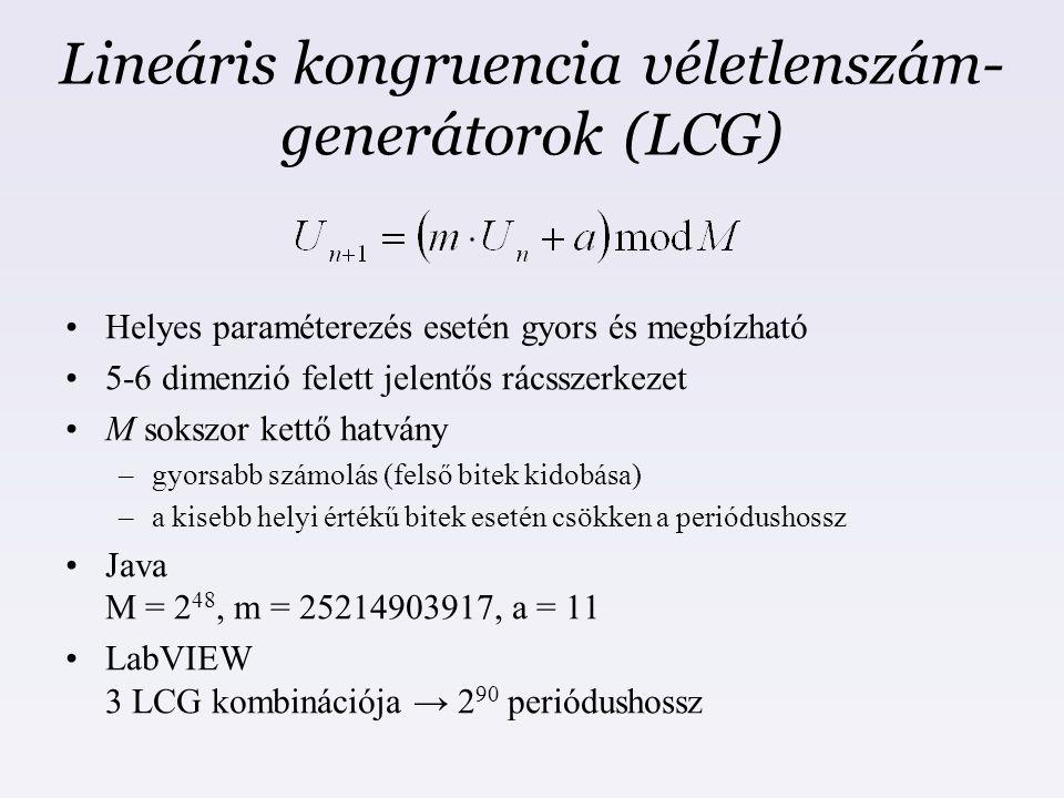 Lineáris kongruencia véletlenszám- generátorok (LCG) Helyes paraméterezés esetén gyors és megbízható 5-6 dimenzió felett jelentős rácsszerkezet M soks