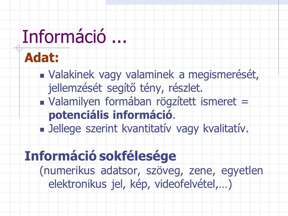 Adat: Valakinek vagy valaminek a megismerését, jellemzését segítő tény, részlet. Valamilyen formában rögzített ismeret = potenciális információ. Jelle