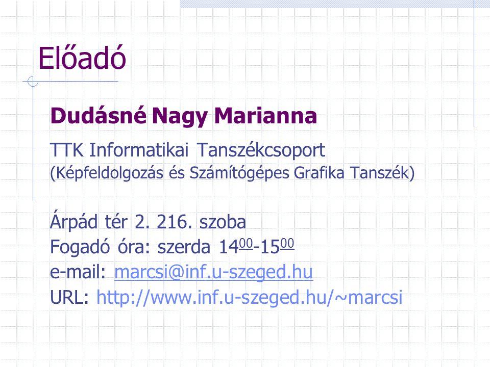 Előadó Dudásné Nagy Marianna TTK Informatikai Tanszékcsoport (Képfeldolgozás és Számítógépes Grafika Tanszék) Árpád tér 2. 216. szoba Fogadó óra: szer