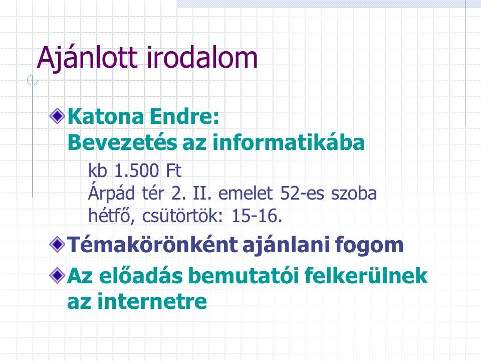 Ajánlott irodalom Katona Endre: Bevezetés az informatikába kb 1.500 Ft Árpád tér 2. II. emelet 52-es szoba hétfő, csütörtök: 15-16. Témakörönként aján
