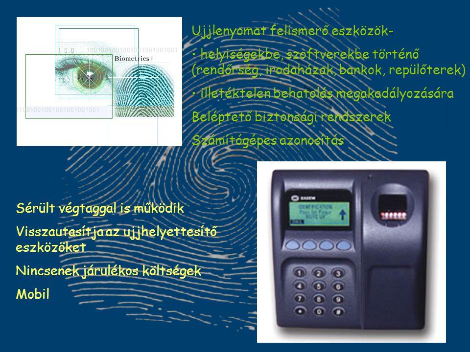 Ujjlenyomat felismerő eszközök- helyiségekbe, szoftverekbe történő (rendőrség, irodaházak, bankok, repülőterek) illetéktelen behatolás megakadályozásá