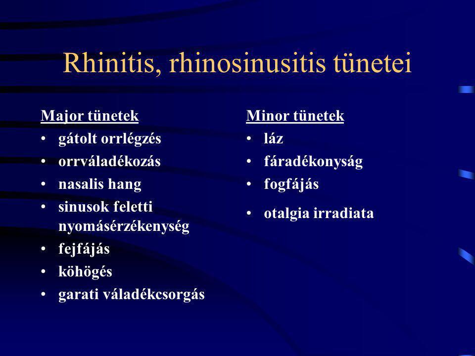 Rhinitis, rhinosinusitis tünetei Major tünetek gátolt orrlégzés orrváladékozás nasalis hang sinusok feletti nyomásérzékenység fejfájás köhögés garati váladékcsorgás Minor tünetek láz fáradékonyság fogfájás otalgia irradiata