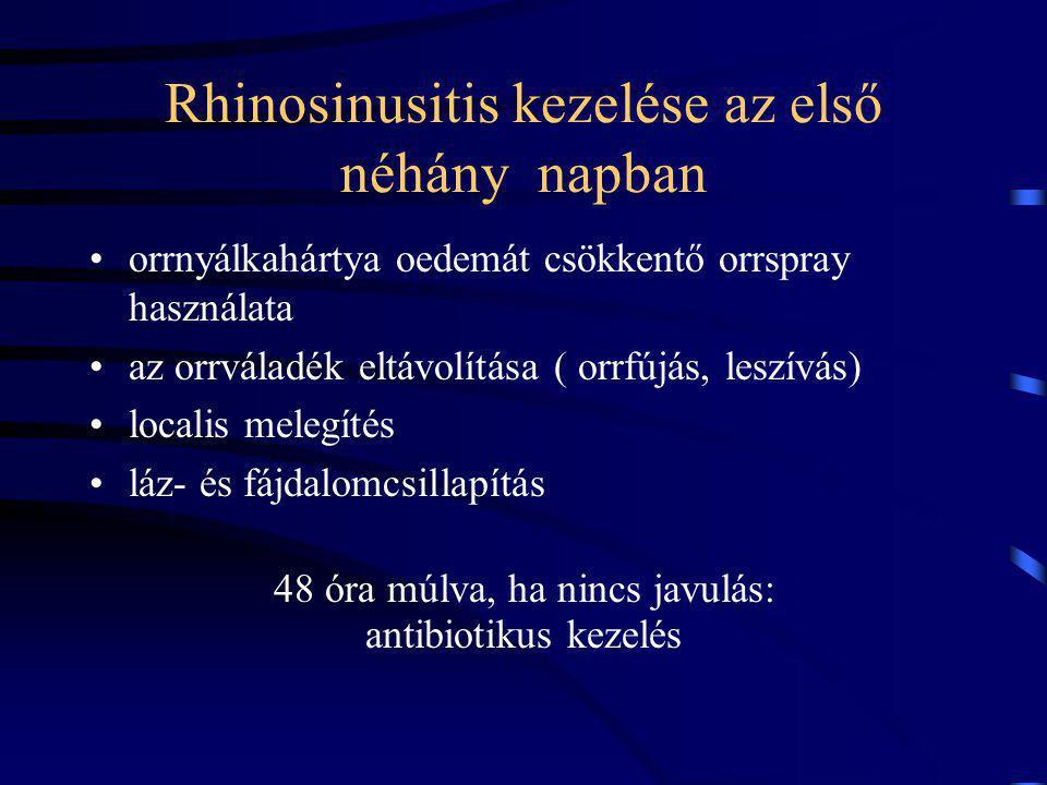 Rhinosinusitis kezelése az első néhány napban orrnyálkahártya oedemát csökkentő orrspray használata az orrváladék eltávolítása ( orrfújás, leszívás) localis melegítés láz- és fájdalomcsillapítás 48 óra múlva, ha nincs javulás: antibiotikus kezelés