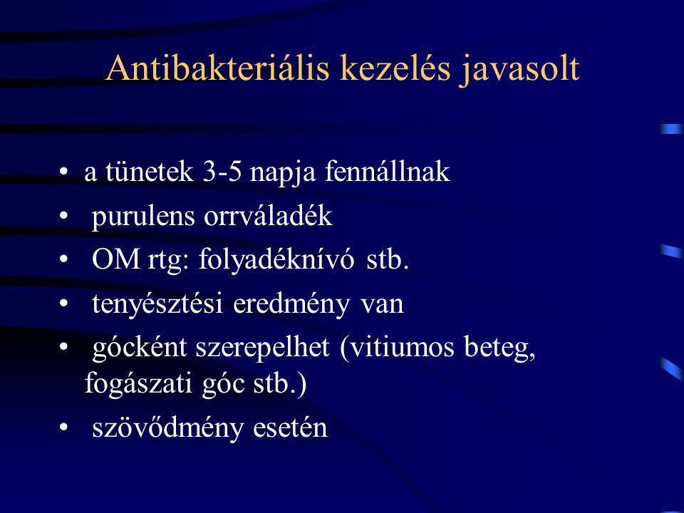 Antibakteriális kezelés javasolt a tünetek 3-5 napja fennállnak purulens orrváladék OM rtg: folyadéknívó stb.