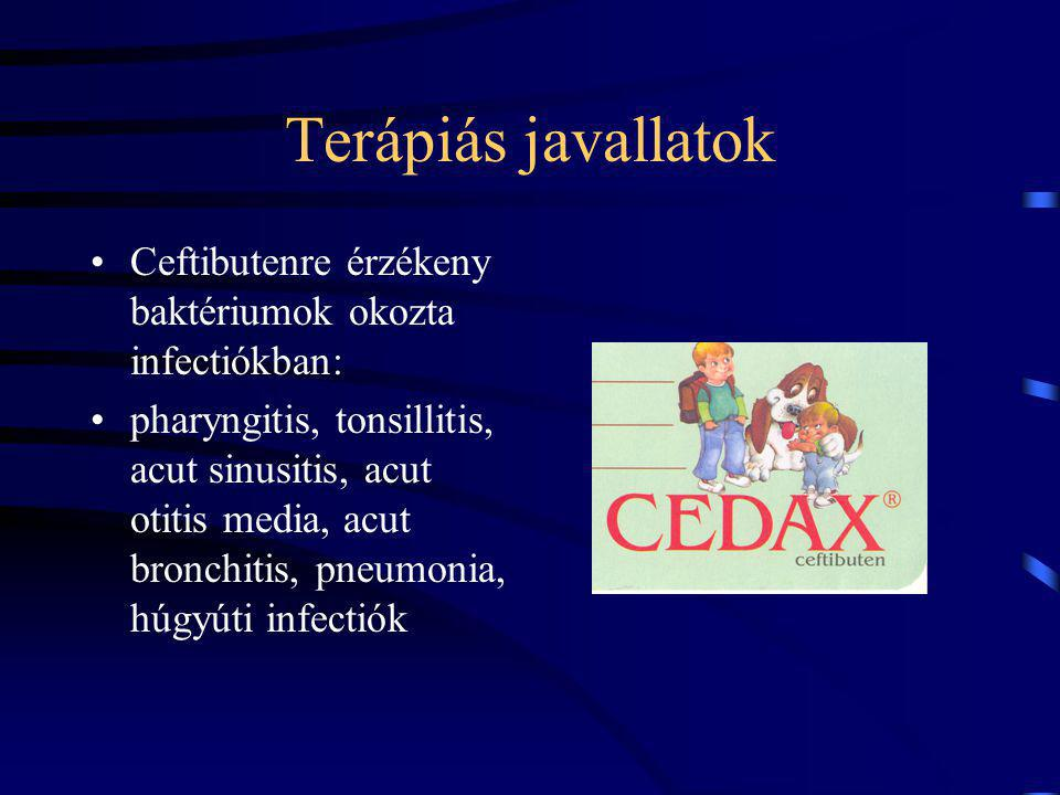 Terápiás javallatok Ceftibutenre érzékeny baktériumok okozta infectiókban: pharyngitis, tonsillitis, acut sinusitis, acut otitis media, acut bronchiti