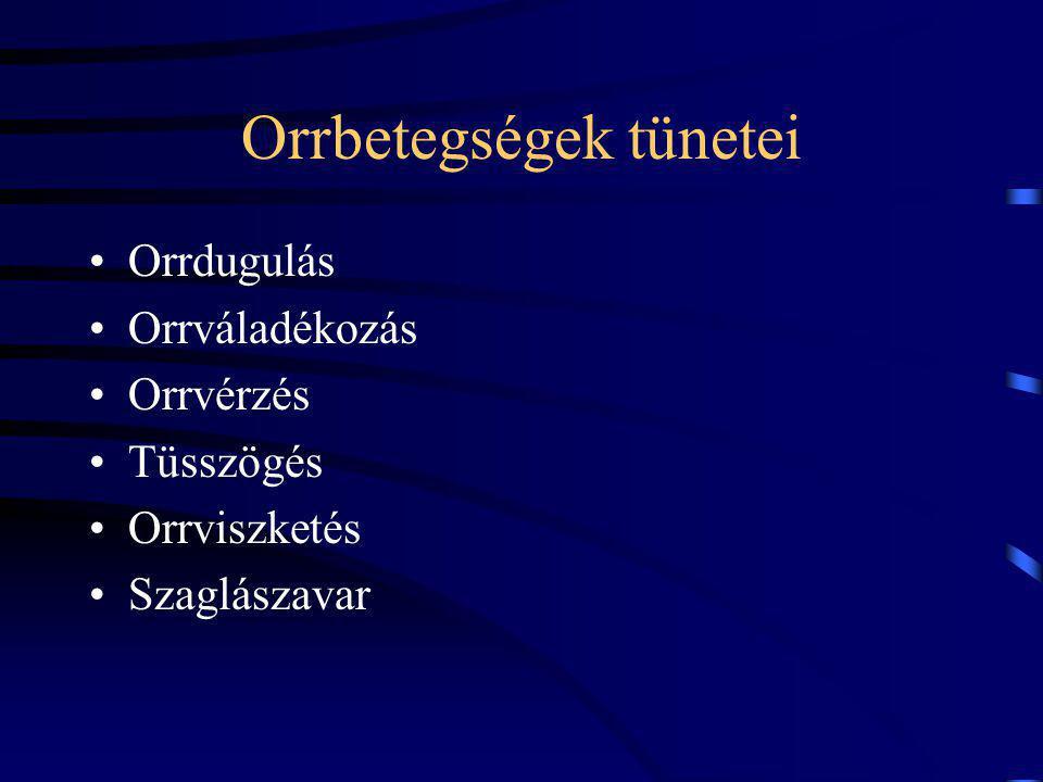 Orrdugulás okai Funkcionális: –az orrnyálkahártya gyulladásos reakciója: rhinitis Organikus: orrbemeneti, orrüregi, retronasalis elzáródás pl.