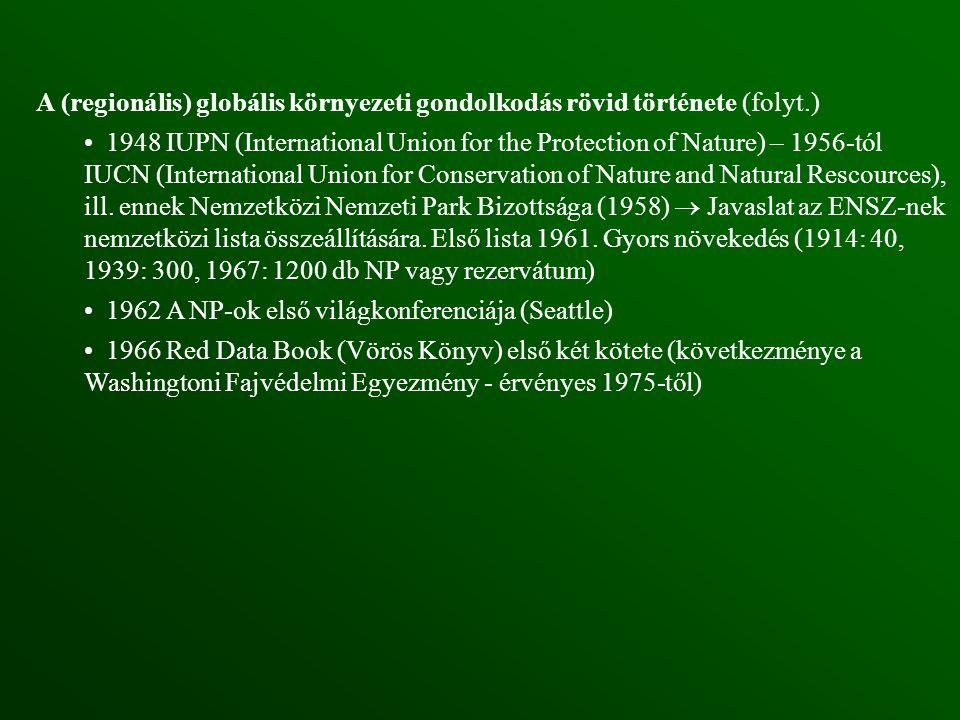 A (regionális) globális környezeti gondolkodás rövid története (folyt.) 1948 IUPN (International Union for the Protection of Nature) – 1956-tól IUCN (International Union for Conservation of Nature and Natural Rescources), ill.