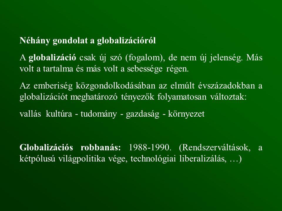 Néhány gondolat a globalizációról A globalizáció csak új szó (fogalom), de nem új jelenség.