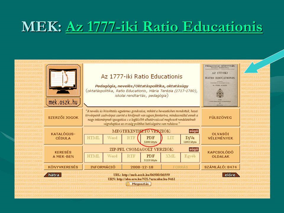 MEK: Az 1777-iki Ratio Educationis Az 1777-iki Ratio EducationisAz 1777-iki Ratio Educationis