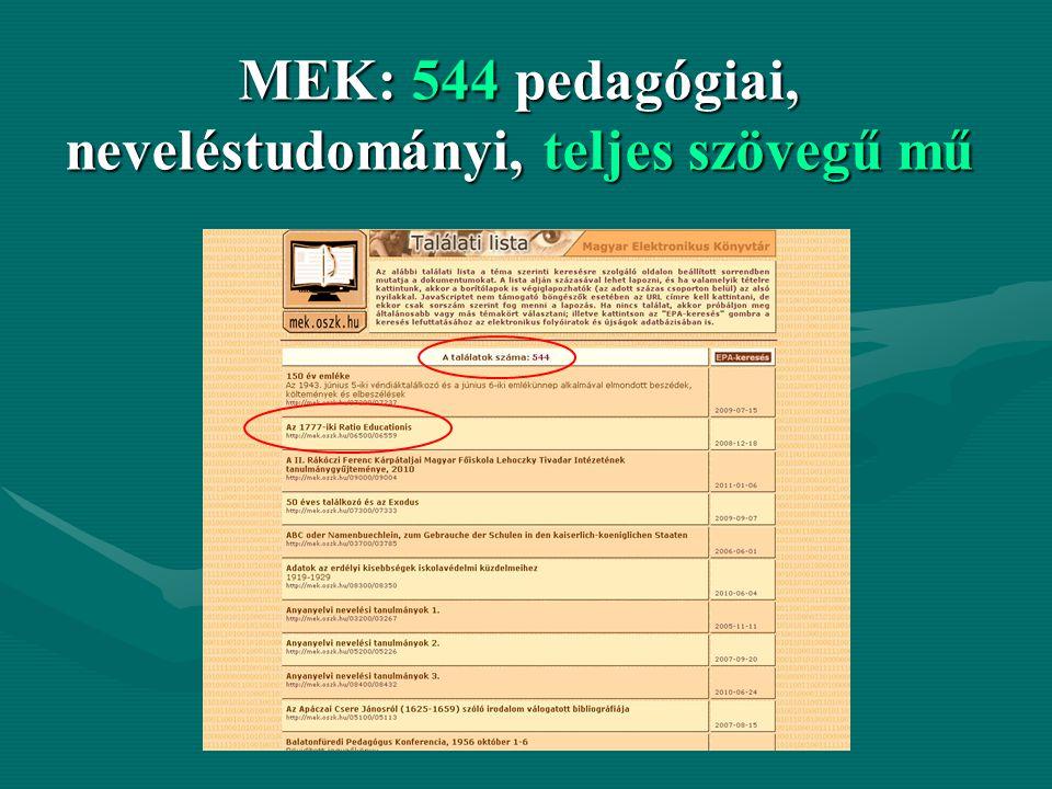 MEK: 544 pedagógiai, neveléstudományi, teljes szövegű mű