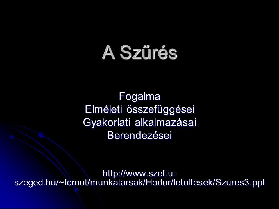 A Szűrés Fogalma Elméleti összefüggései Gyakorlati alkalmazásai Berendezései http://www.szef.u- szeged.hu/~temut/munkatarsak/Hodur/letoltesek/Szures3.