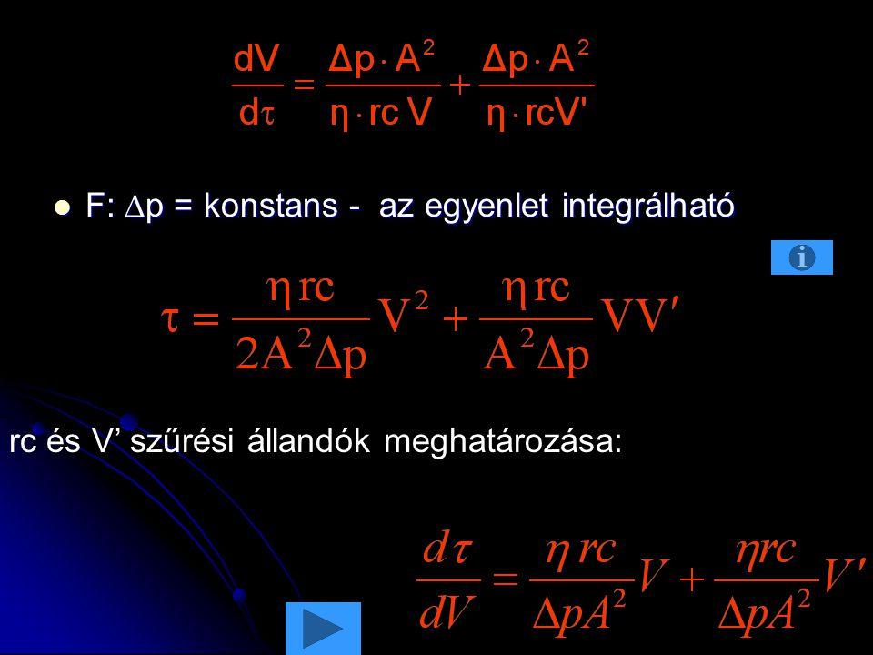 F:  p = konstans - az egyenlet integrálható F:  p = konstans - az egyenlet integrálható rc és V' szűrési állandók meghatározása: