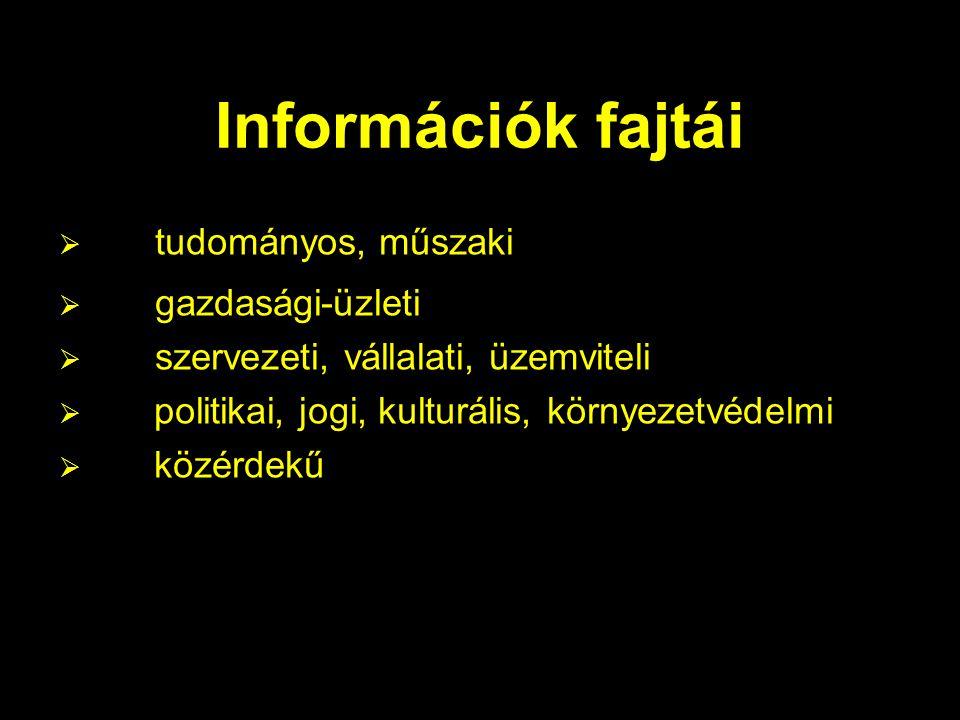 Információk fajtái  tudományos, műszaki  gazdasági-üzleti  szervezeti, vállalati, üzemviteli  politikai, jogi, kulturális, környezetvédelmi  közérdekű