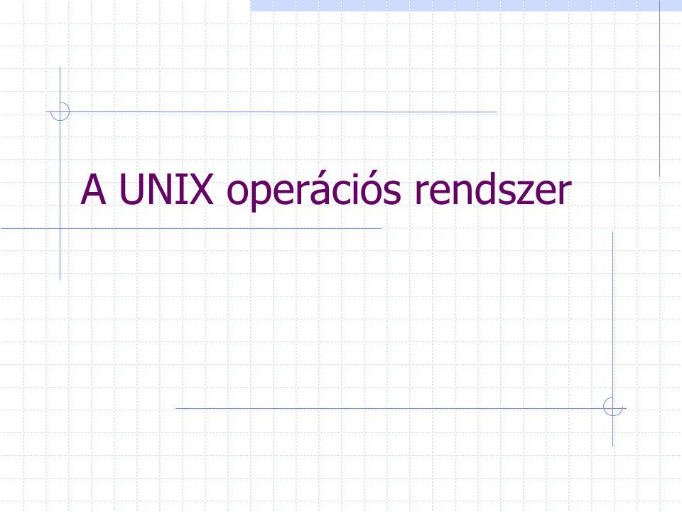 Fájlkezelő parancsok (~UNIX) cp file másolása rm file(könyvtár törlése) mv file mozgatása, átnevezése cat vagy more szöveges file kiiratása mc fájl- és könyvtárkezelő ~Norton Commander