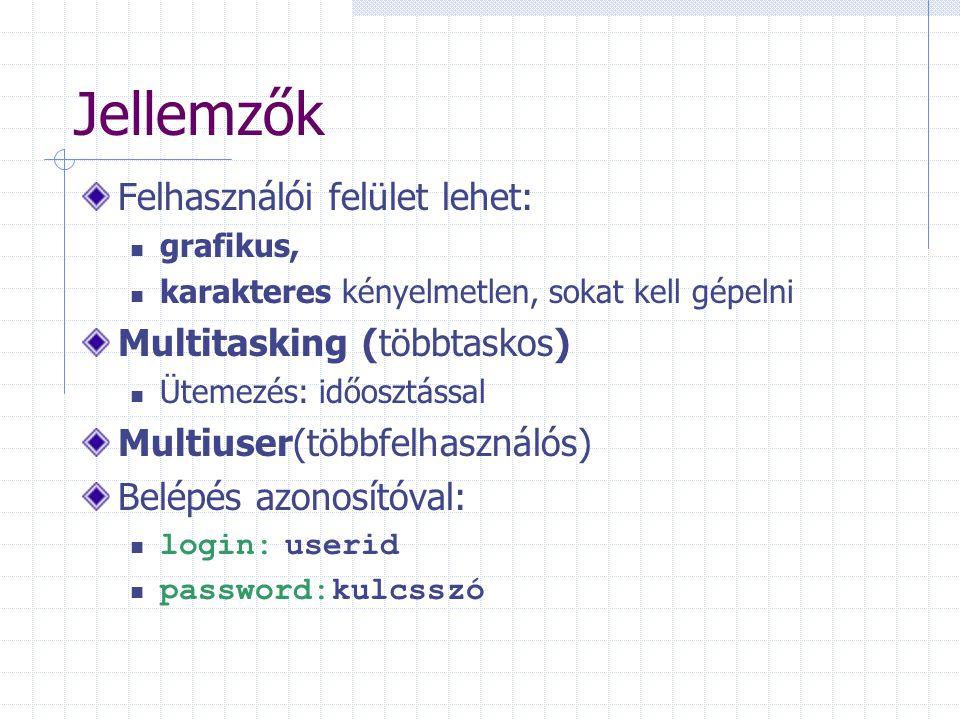 Jellemzők Felhasználói felület lehet: grafikus, karakteres kényelmetlen, sokat kell gépelni Multitasking (többtaskos) Ütemezés: időosztással Multiuser(többfelhasználós) Belépés azonosítóval: login: userid password:kulcsszó