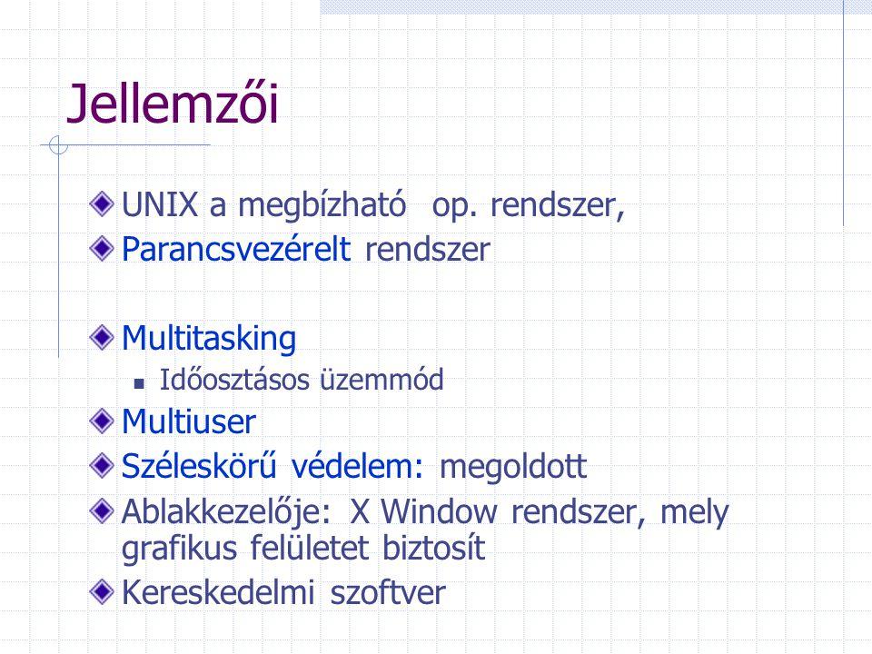 További parancsok (~UNIX) passwd belépési jelszó megváltoztatása man parancsról ad leírást (help) mount tárolóeszköz (floppy, cd, pendrive, partició) logikai csatlakoztatása a fájlrendszerhez df lemezen foglalt hely lekérdezése ln link Hálózati funkcióhoz kapcsolódó: (l.