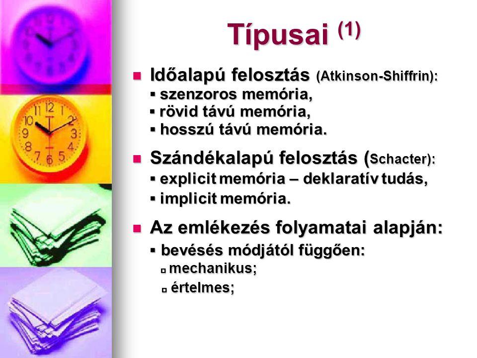 Típusai (2) ▪ felidézés módjától függően: ▪ felidézés módjától függően:  motorikus;  motorikus;  képszerű;  képszerű;  értelmi – logikai;  értelmi – logikai;  emocionális.