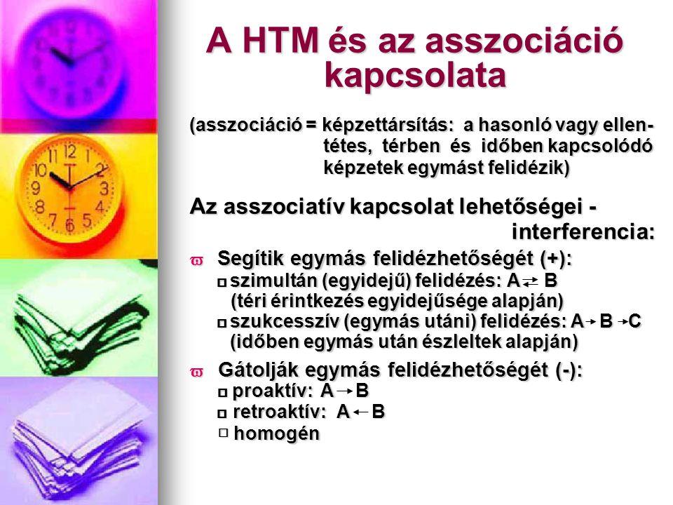 A HTM és az asszociáció kapcsolata (asszociáció = képzettársítás: a hasonló vagy ellen- tétes, térben és időben kapcsolódó tétes, térben és időben kap