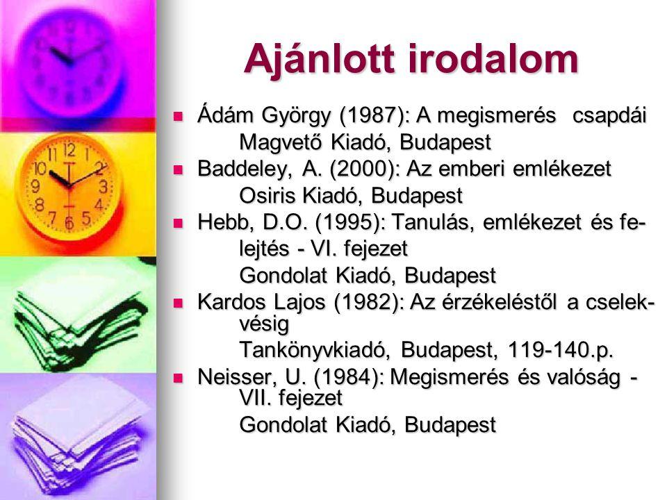 Ajánlott irodalom Ádám György (1987): A megismerés csapdái Ádám György (1987): A megismerés csapdái Magvető Kiadó, Budapest Baddeley, A. (2000): Az em