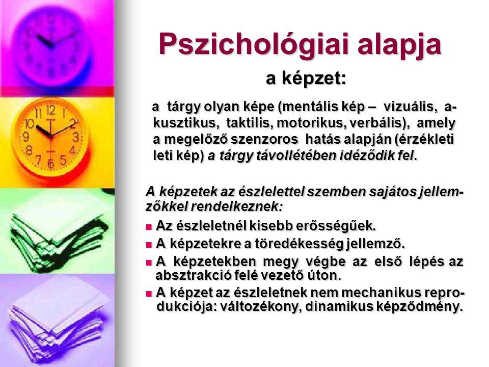 Pszichológiai alapja a képzet: a tárgy olyan képe (mentális kép – vizuális, a- a tárgy olyan képe (mentális kép – vizuális, a- kusztikus, taktilis, mo
