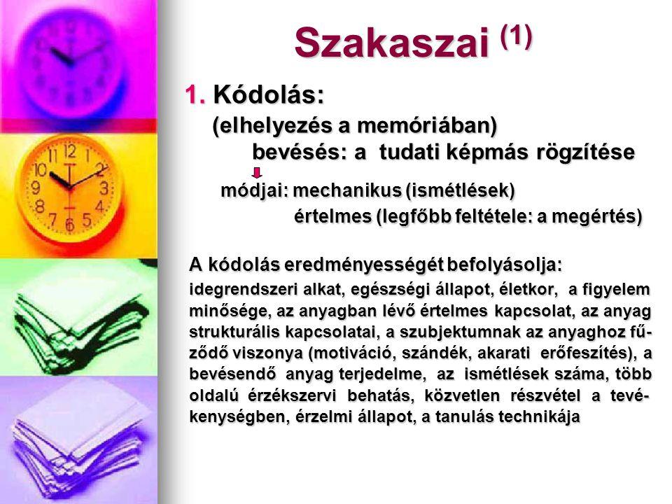 Szakaszai (1) 1. Kódolás: (elhelyezés a memóriában) (elhelyezés a memóriában) bevésés: a tudati képmás rögzítése bevésés: a tudati képmás rögzítése mó