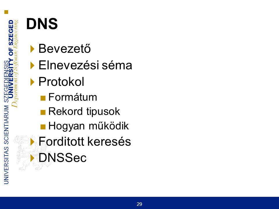 UNIVERSITY OF SZEGED D epartment of Software Engineering UNIVERSITAS SCIENTIARUM SZEGEDIENSIS 29 DNS  Bevezető  Elnevezési séma  Protokol ■Formátum
