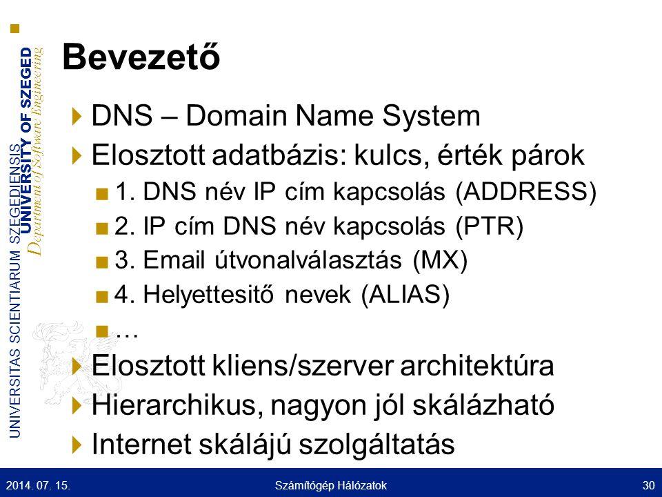 UNIVERSITY OF SZEGED D epartment of Software Engineering UNIVERSITAS SCIENTIARUM SZEGEDIENSIS Bevezető  DNS – Domain Name System  Elosztott adatbázis: kulcs, érték párok ■1.