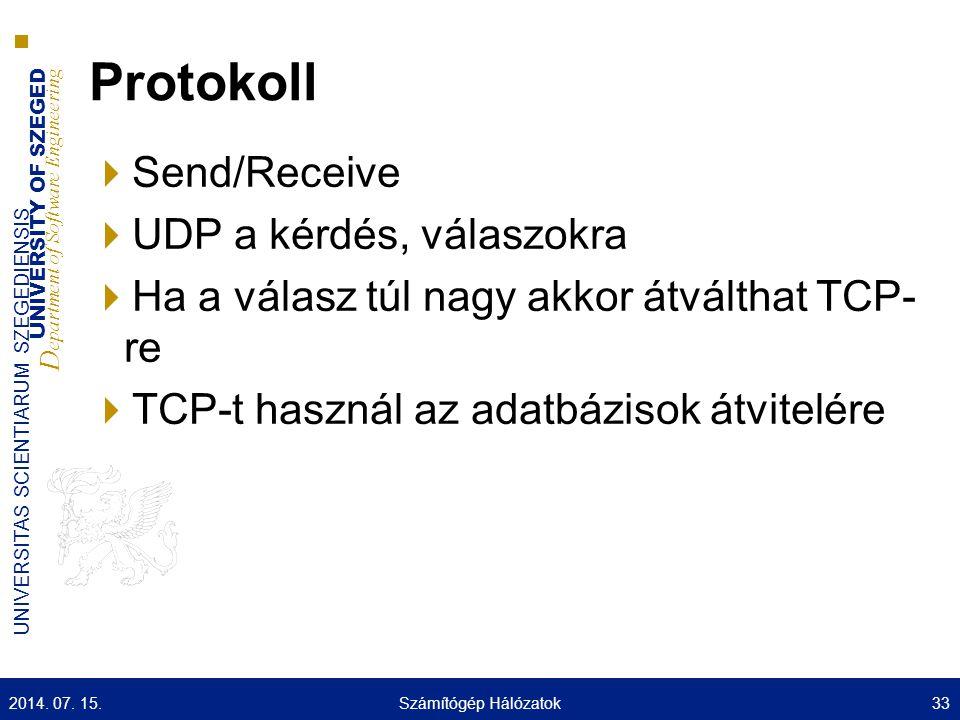 UNIVERSITY OF SZEGED D epartment of Software Engineering UNIVERSITAS SCIENTIARUM SZEGEDIENSIS Protokoll  Send/Receive  UDP a kérdés, válaszokra  Ha a válasz túl nagy akkor átválthat TCP- re  TCP-t használ az adatbázisok átvitelére 2014.