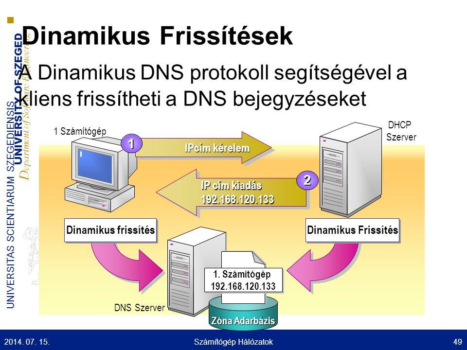 UNIVERSITY OF SZEGED D epartment of Software Engineering UNIVERSITAS SCIENTIARUM SZEGEDIENSIS Dinamikus Frissítések A Dinamikus DNS protokoll segítségével a kliens frissítheti a DNS bejegyzéseket 1 Számítógép IPcím kérelem 1 IP cím kiadás 192.168.120.133 IP cím kiadás 192.168.120.133 2 Zóna Adarbázis 1.