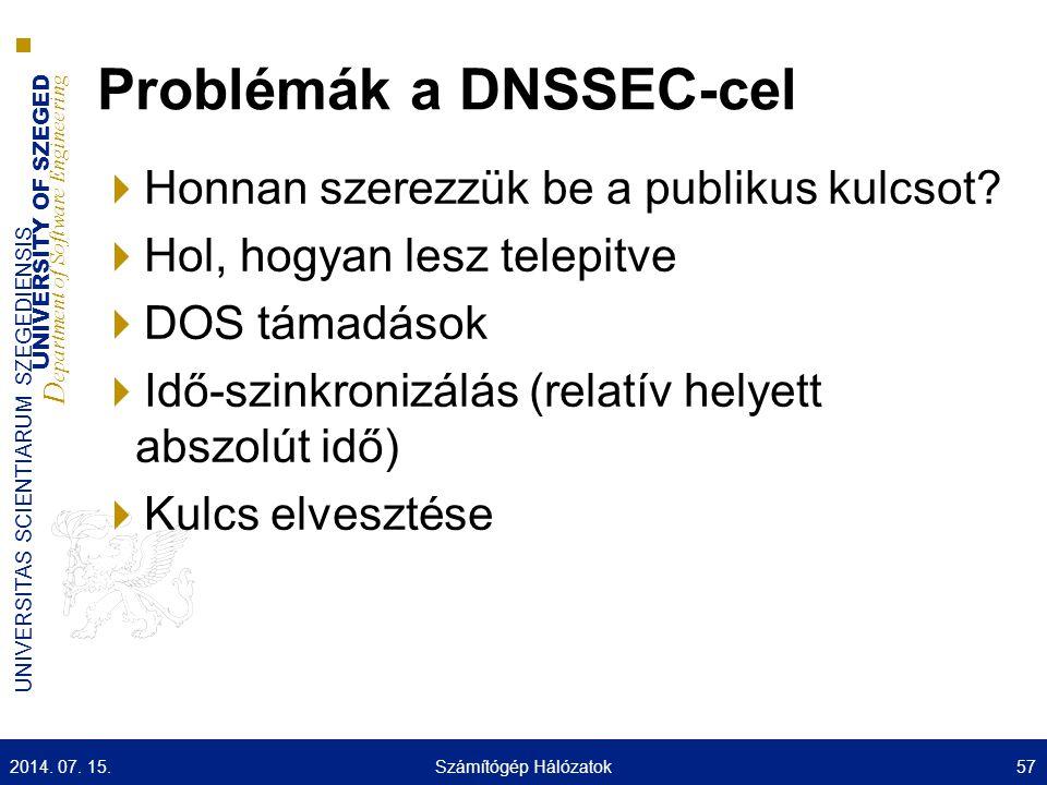 UNIVERSITY OF SZEGED D epartment of Software Engineering UNIVERSITAS SCIENTIARUM SZEGEDIENSIS Problémák a DNSSEC-cel  Honnan szerezzük be a publikus kulcsot.