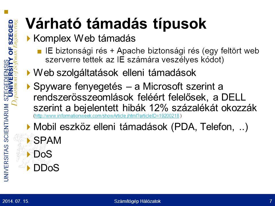 UNIVERSITY OF SZEGED D epartment of Software Engineering UNIVERSITAS SCIENTIARUM SZEGEDIENSIS Várható támadás típusok  Komplex Web támadás ■IE biztonsági rés + Apache biztonsági rés (egy feltört web szerverre tettek az IE számára veszélyes kódot)  Web szolgáltatások elleni támadások  Spyware fenyegetés – a Microsoft szerint a rendszerösszeomlások feléért felelősek, a DELL szerint a bejelentett hibák 12% százalékát okozzák (http://www.informationweek.com/showArticle.jhtml articleID=19200218 )http://www.informationweek.com/showArticle.jhtml articleID=19200218  Mobil eszköz elleni támadások (PDA, Telefon,..)  SPAM  DoS  DDoS 2014.