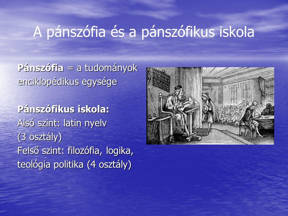A pánszófia és a pánszófikus iskola Pánszófia = a tudományok enciklopédikus egysége Pánszófikus iskola: Alsó szint: latin nyelv (3 osztály) Felső szin