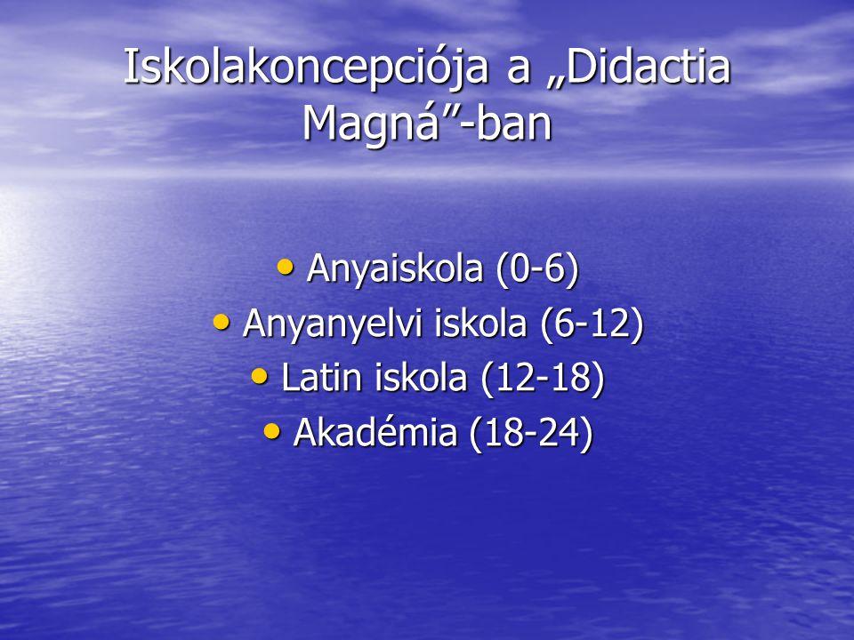"""Iskolakoncepciója a """"Didactia Magná""""-ban Anyaiskola (0-6) Anyaiskola (0-6) Anyanyelvi iskola (6-12) Anyanyelvi iskola (6-12) Latin iskola (12-18) Lati"""