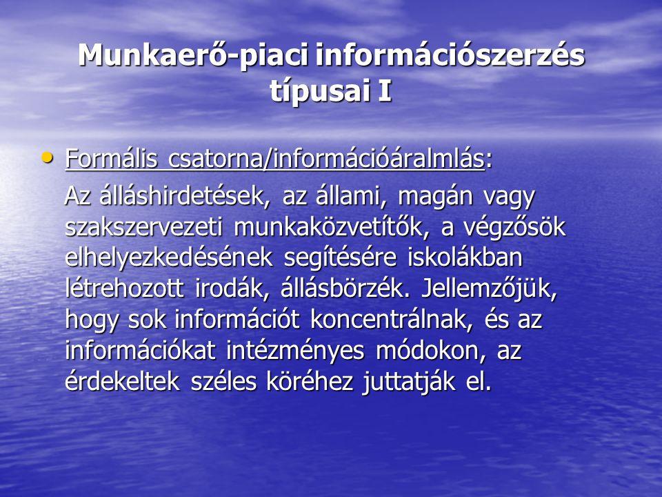 Munkaerő-piaci információszerzés típusai I Formális csatorna/információáralmlás: Formális csatorna/információáralmlás: Az álláshirdetések, az állami, magán vagy szakszervezeti munkaközvetítők, a végzősök elhelyezkedésének segítésére iskolákban létrehozott irodák, állásbörzék.