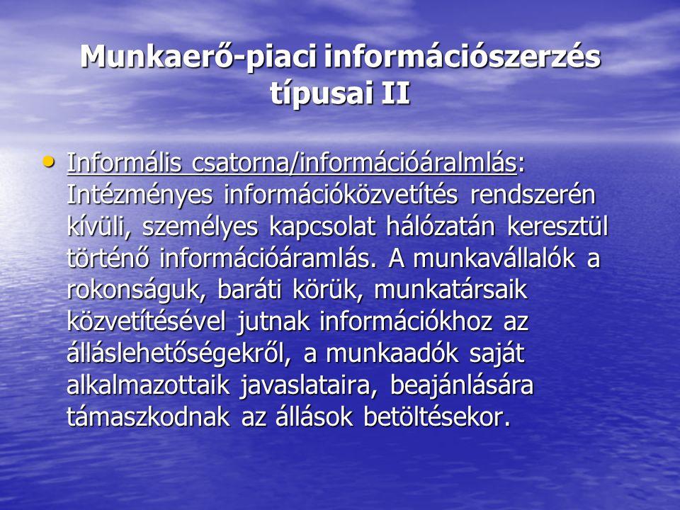 Munkaerő-piaci információszerzés típusai II Informális csatorna/információáralmlás: Intézményes információközvetítés rendszerén kívüli, személyes kapcsolat hálózatán keresztül történő információáramlás.