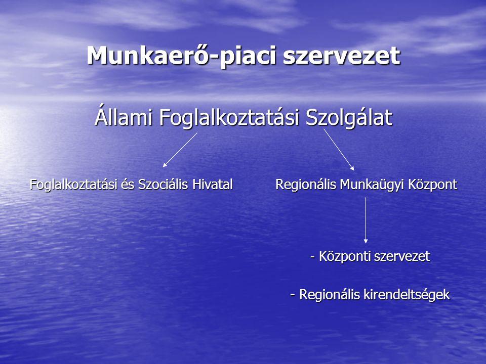 Munkaerő-piaci szervezet Állami Foglalkoztatási Szolgálat Foglalkoztatási és Szociális Hivatal Regionális Munkaügyi Központ - Központi szervezet - Központi szervezet - Regionális kirendeltségek - Regionális kirendeltségek