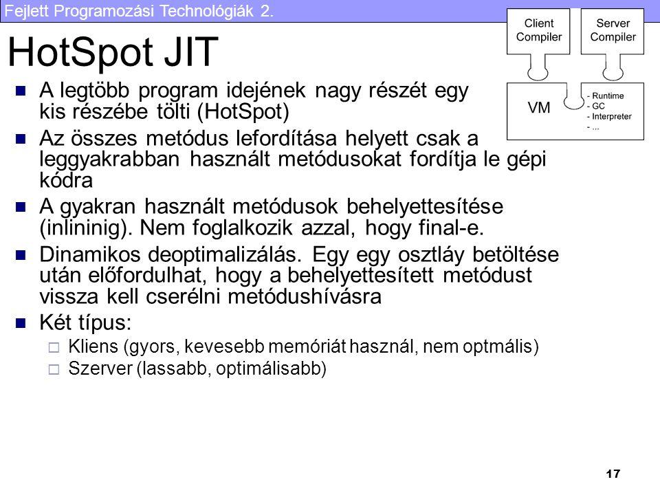 Fejlett Programozási Technológiák 2. 17 HotSpot JIT A legtöbb program idejének nagy részét egy kis részébe tölti (HotSpot) Az összes metódus lefordítá