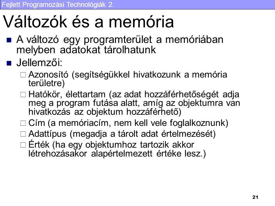Fejlett Programozási Technológiák 2. 21 Változók és a memória A változó egy programterület a memóriában melyben adatokat tárolhatunk Jellemzői:  Azon
