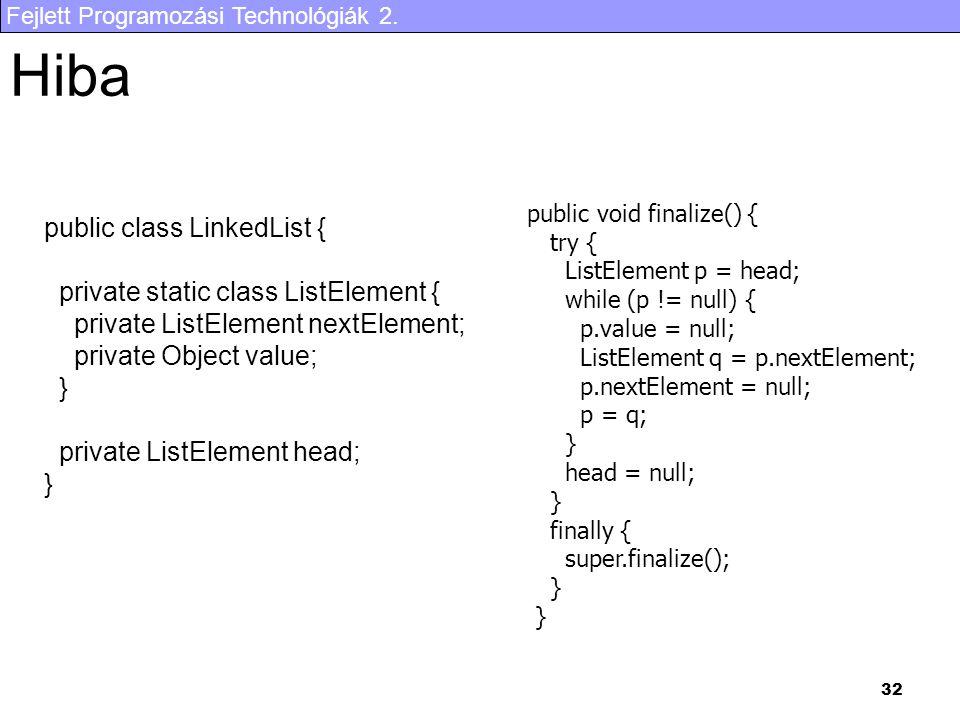 Fejlett Programozási Technológiák 2. 32 Hiba public class LinkedList { private static class ListElement { private ListElement nextElement; private Obj