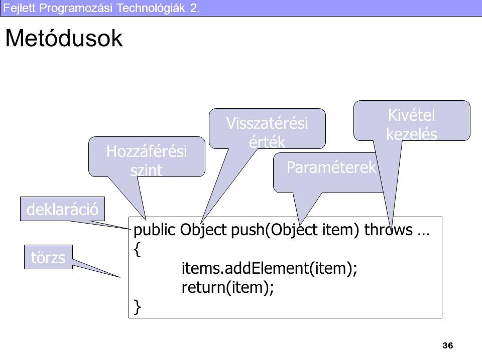 Fejlett Programozási Technológiák 2. 36 Metódusok public Object push(Object item) throws … { items.addElement(item); return(item); } törzs deklaráció