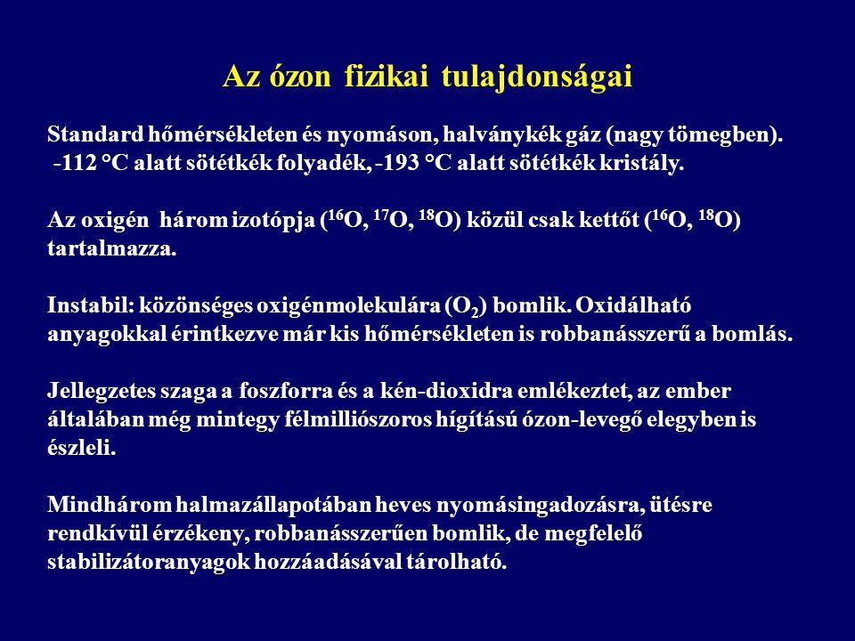 Standard hőmérsékleten és nyomáson, halványkék gáz (nagy tömegben).
