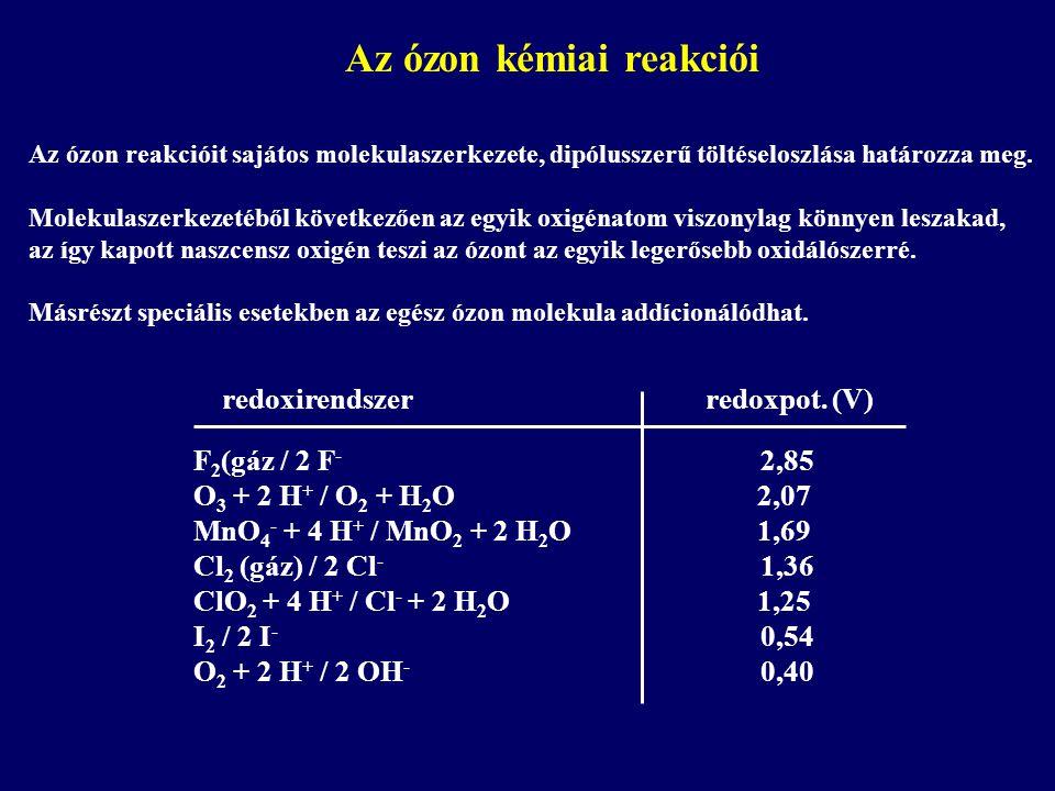 Az ózon kémiai reakciói Az ózon reakcióit sajátos molekulaszerkezete, dipólusszerű töltéseloszlása határozza meg.