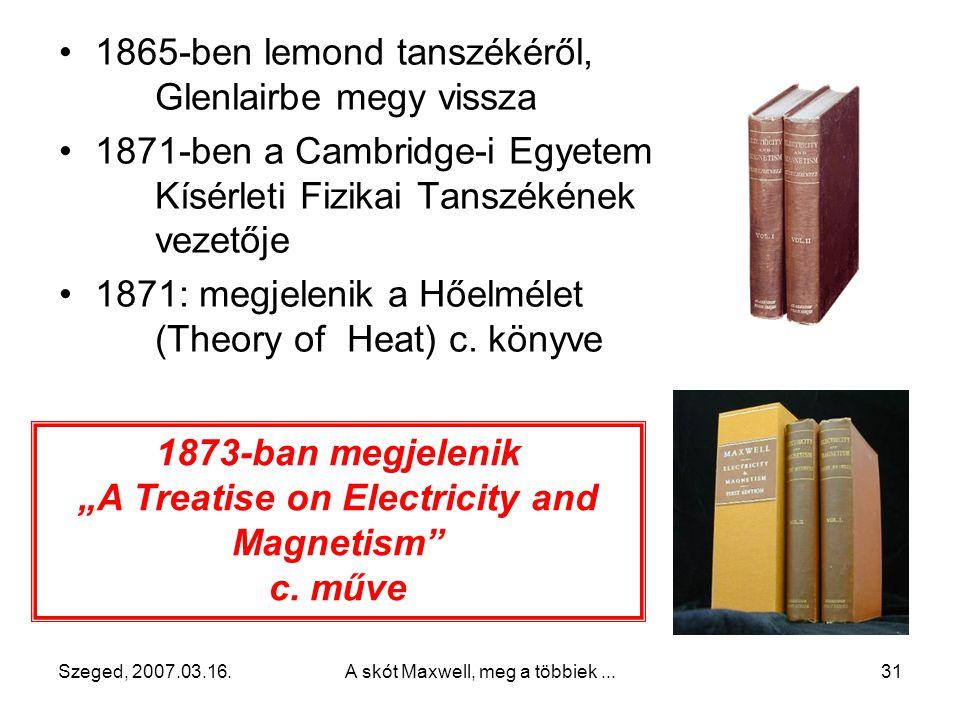 Szeged, 2007.03.16.A skót Maxwell, meg a többiek...30 1860 – 1865 között Londonban a Kings College professzora 1860: levezeti a gázok sebességeloszlás