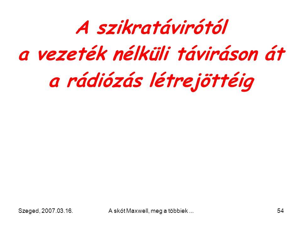 Szeged, 2007.03.16.A skót Maxwell, meg a többiek...53 Karlsruhe-ben fedezte fel az (ún. Hertz- féle) oszcillátorral keltett elektromágneses hullámokat