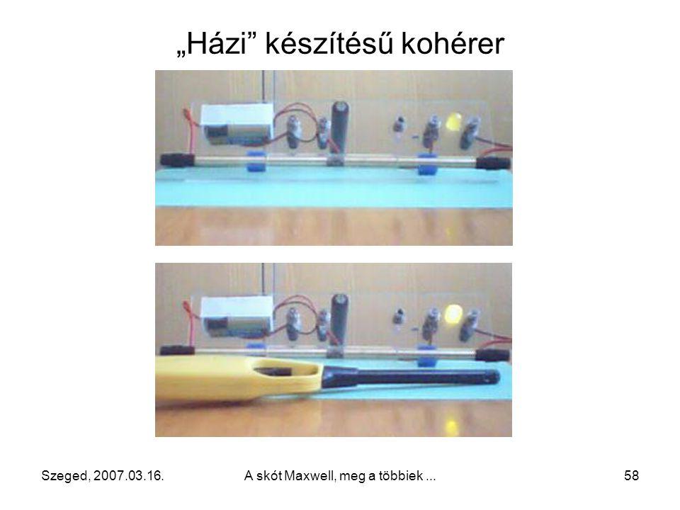 Szeged, 2007.03.16. A skót Maxwell, meg a többiek... 57 Fritter (coherer, kohérer)