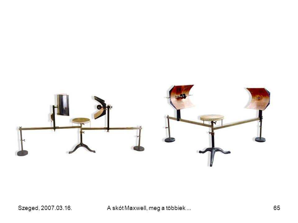 Szeged, 2007.03.16.A skót Maxwell, meg a többiek...64 Az egyszerű detektálás szikraközzel Detektálás kohérerrel és csengővel