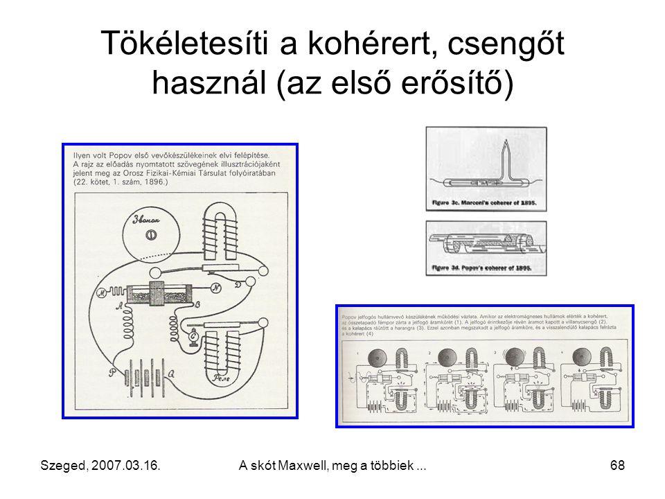 Szeged, 2007.03.16.A skót Maxwell, meg a többiek...67 Popov bemutatja találmányát 1895