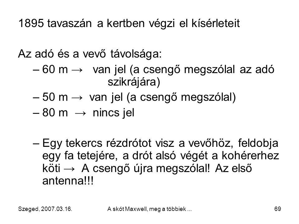 Szeged, 2007.03.16.A skót Maxwell, meg a többiek...68 Tökéletesíti a kohérert, csengőt használ (az első erősítő)