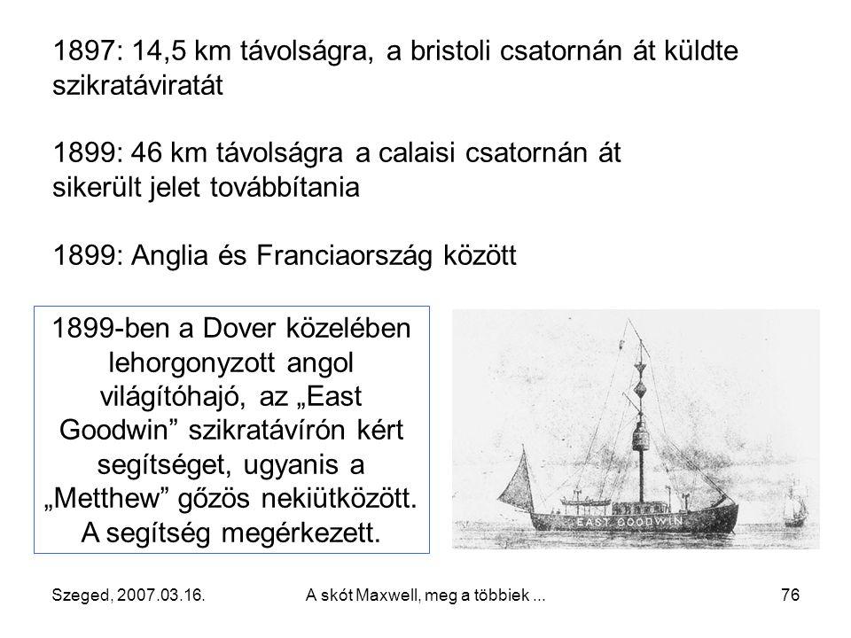 Szeged, 2007.03.16.A skót Maxwell, meg a többiek...75 1894 1896-ban Angliába megy, itt jelenti be első szabadalmát a drótnélküli távíróról