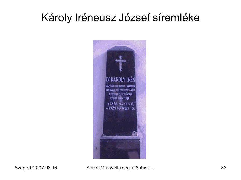 Szeged, 2007.03.16.A skót Maxwell, meg a többiek...82 Károly Iréneusz József (magyar) (1854 – 1929) Calderoni-féle eszköz (1902, 1908-ban Londonban a